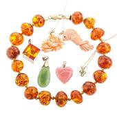 A Collection of Gold, Amber, Jade & Coral Jewelry