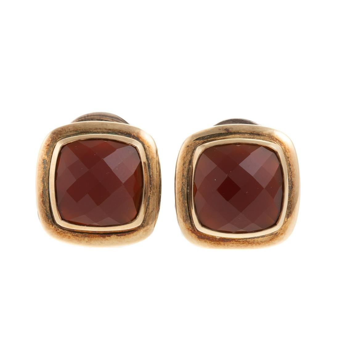 A Pair of David Yurman Two-Tone Carnelian Earrings