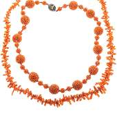 A Handmade Coral Necklace & Branch Coral Necklace