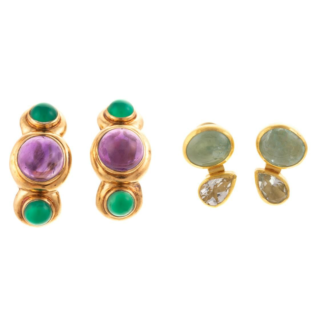 Two Pairs of Bezel Set Gemstone Earrings in Gold