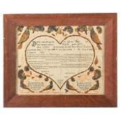 18th c. Pennsylvania Dutch Taufschein Fraktur