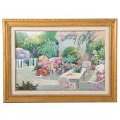 Ming Jeng Impressionist View of a Patio Oil