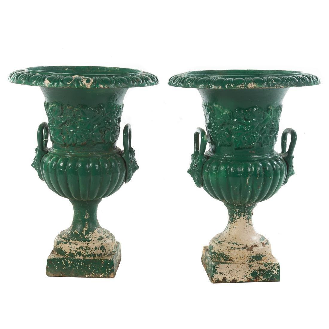 Pair Victorian Cast Iron Garden Urns