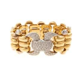 A 18K Italian Aldo Wide Link Diamond Pave Bracelet