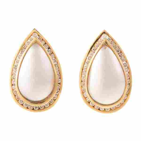 A Pair of Mabe Pearl & Diamond Earrings in 14K