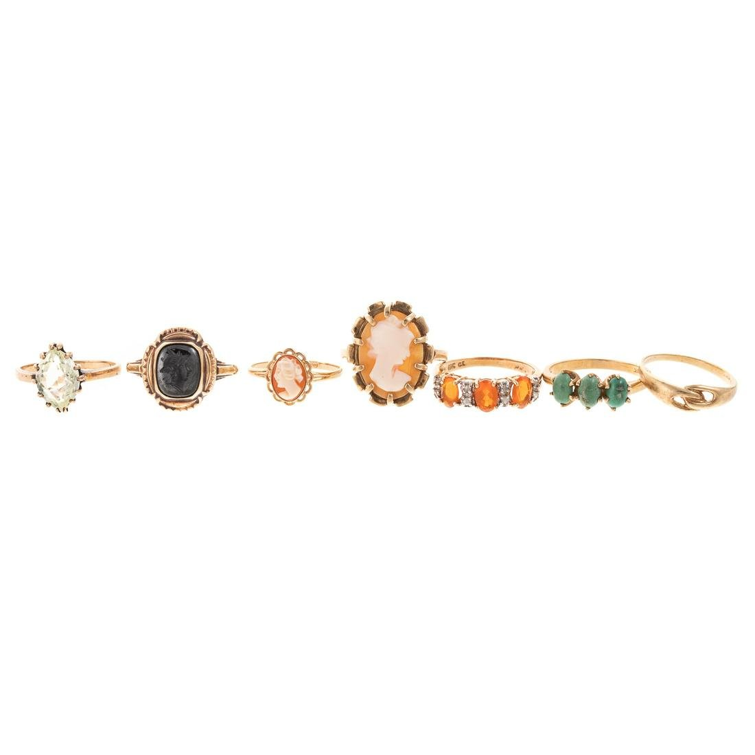 A Large Assortment of Gemstone Rings in 10K