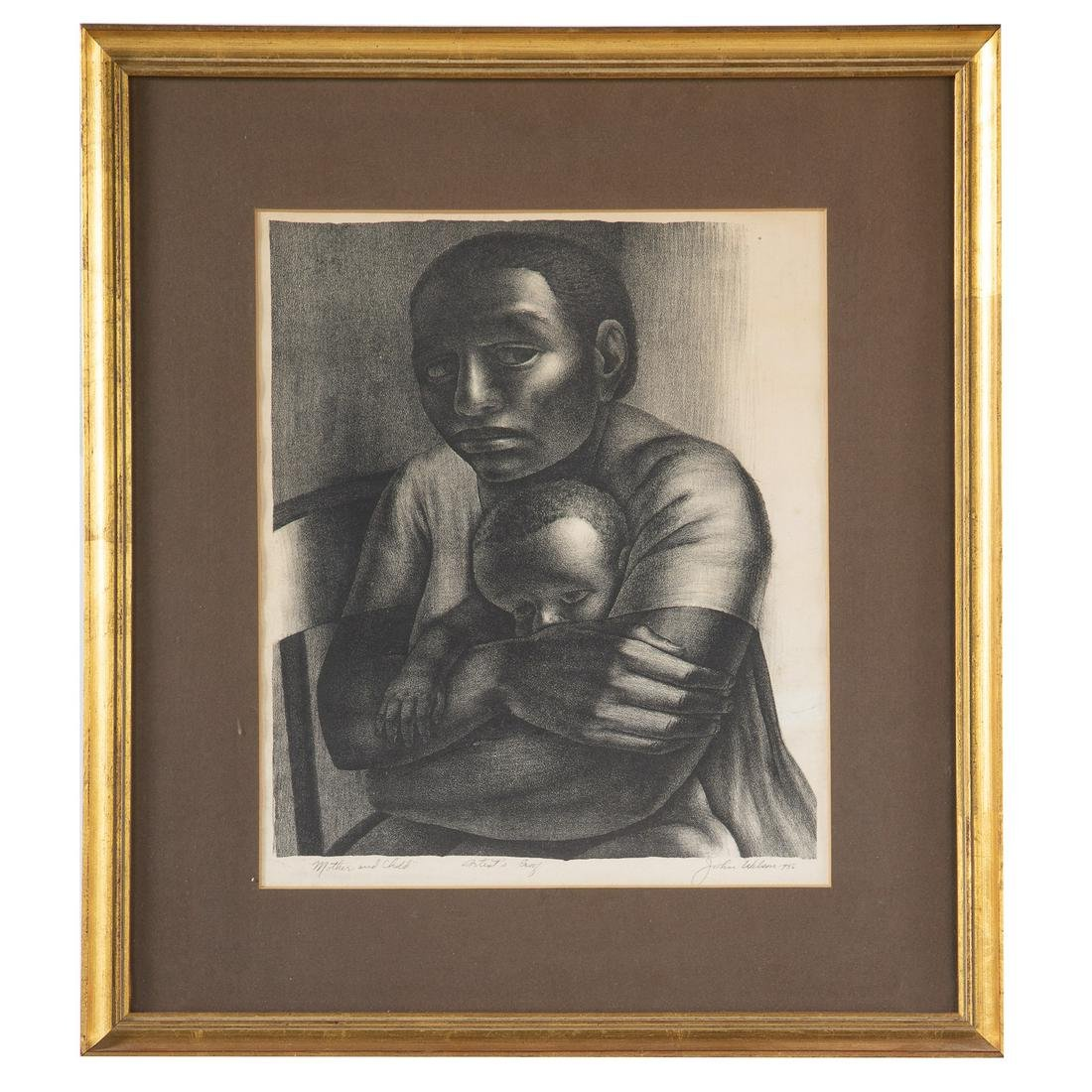 """John Wilson. """"Mother and Child,"""" lithograph"""