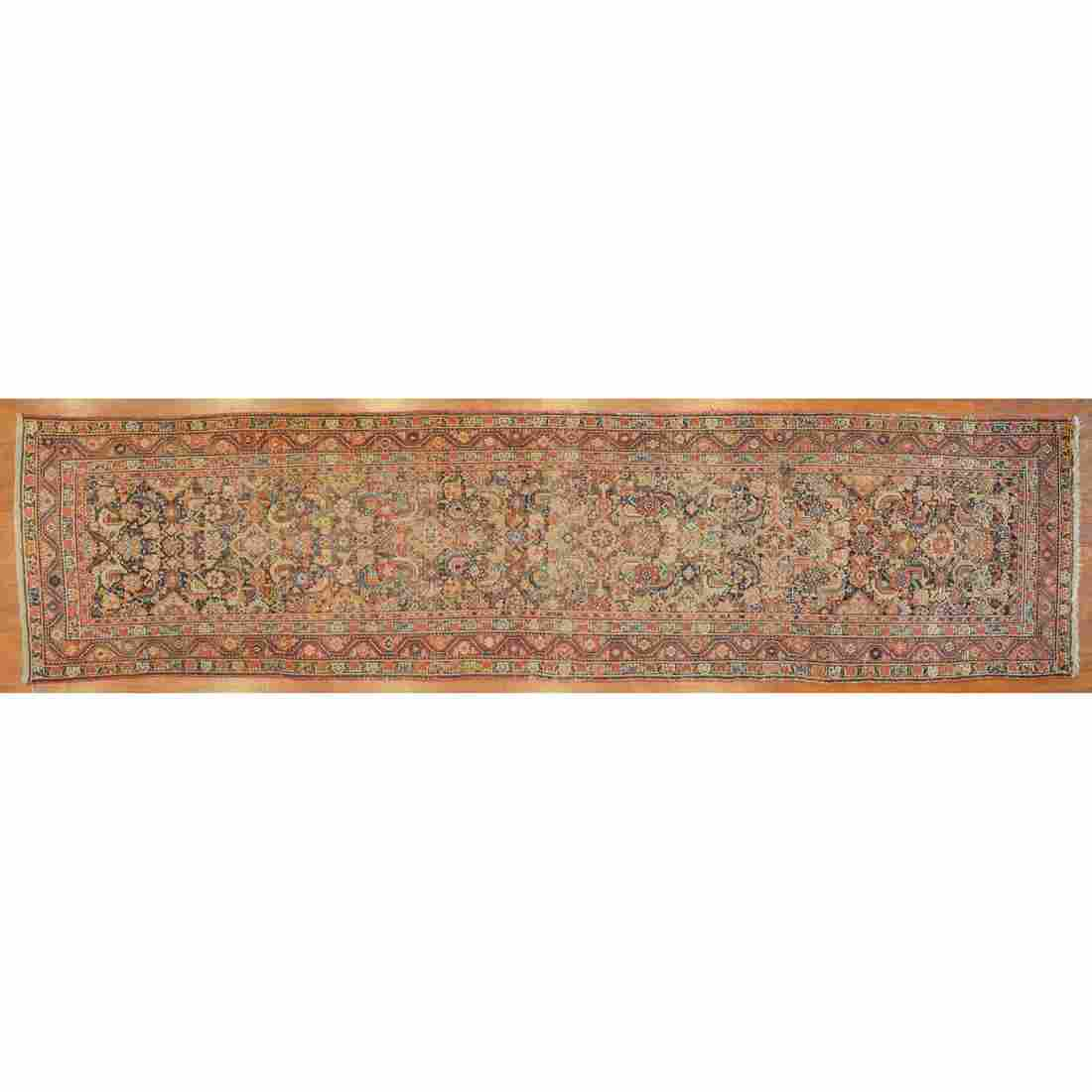 Antique Malayer Runner, Persia, 3 x 13.4