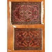 Pair Semi-Antique Sarouk Mats, Persia, 2 x 3