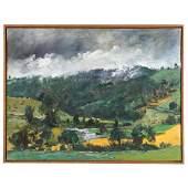 """Raoul Middleman. """"Mist, Grampian Hills,"""" oil"""