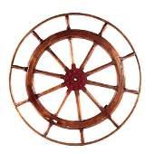 Large Oak  Metal Mounted Ships Wheel