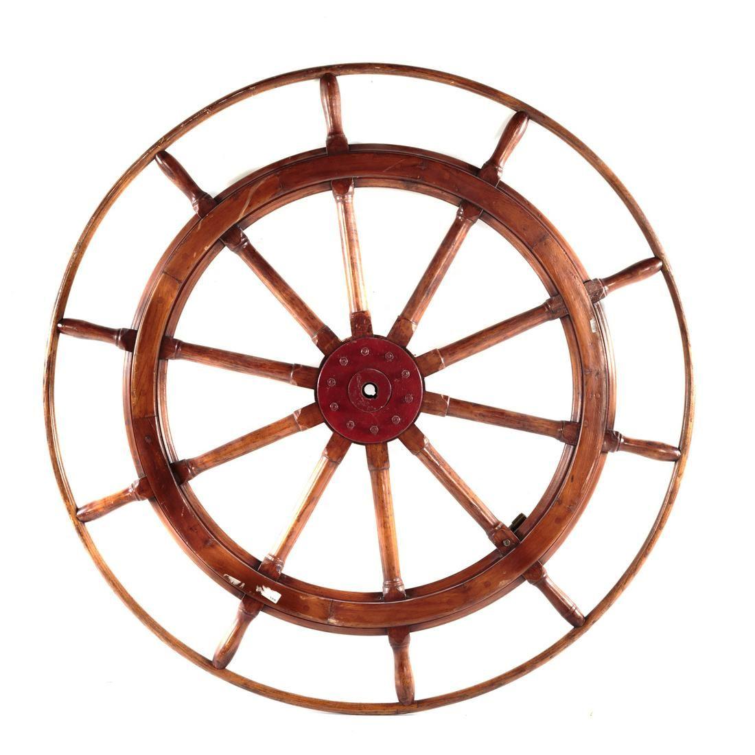 Large Oak & Metal Mounted Ships Wheel