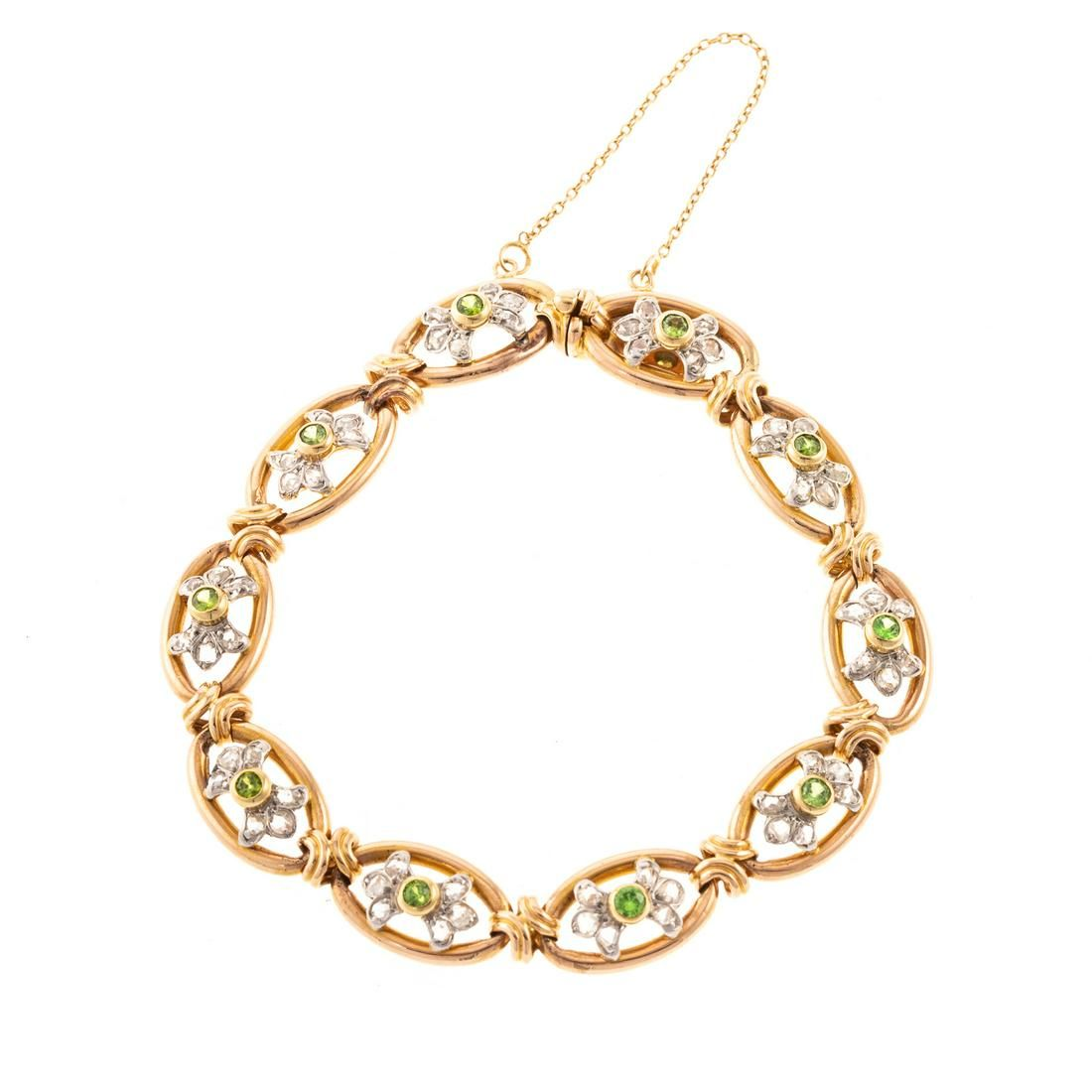 A French Demantoid Garnet & Diamond Bracelet