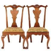 Pair of Federal Walnut Queen Anne Side Chairs