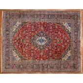 Signed Kashan Carpet, Persia, 9.9 x 12.6