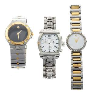 A Collection of Movado & Charriol Wrist Watches