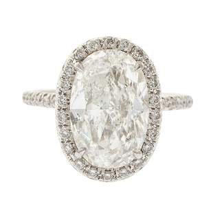A 5.01 ct F SI2 Oval Diamond Ring in Platinum