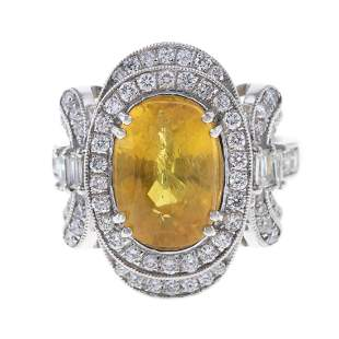A 6.25 ct Yellow Sapphire & Diamond Ring in Plat
