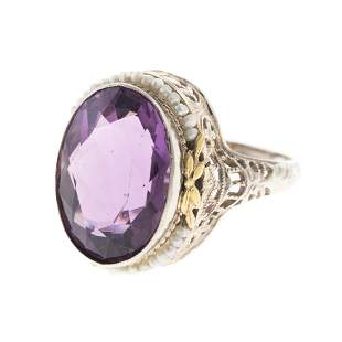 An Art Deco Filigree Amethyst Seed Pearl Ring