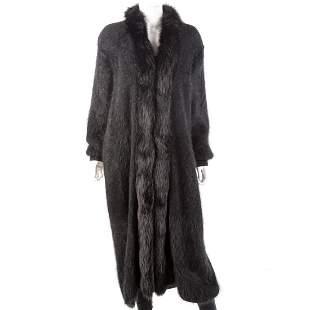 Black Angora & Fox-Trimmed Sweater Coat
