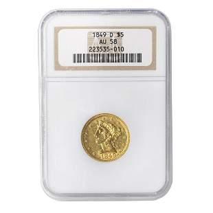1849-D Liberty Gold $5 NGC AU58