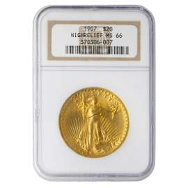 1907 High Relief St Gaudens Wire Edge $20 NGC MS66