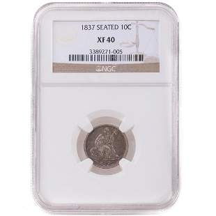 1837 Large Date Seated Dime NGC XF-40