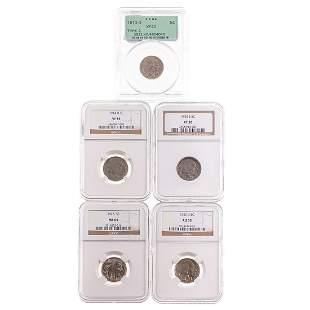 Very Nice Group of Five Graded Buffalo Nickels