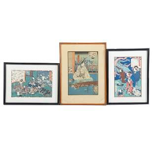 Three Edo Period Ukiyo-e Color Woodblock Prints