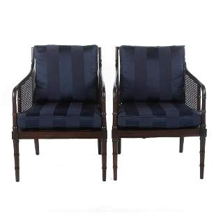 Pair of Hickory Chair Mahogany & Cane Arm Chairs