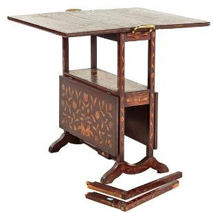 Dutch Marquetry Two-Tier Drop Leaf Table