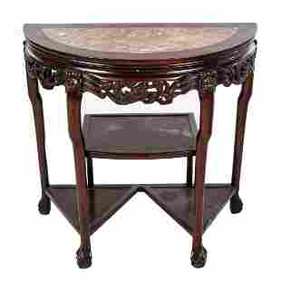 Chinese Carved Hardwood Demilune Console