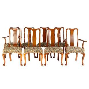 Eight Old Colony Mahogany Queen Anne Style Chairs
