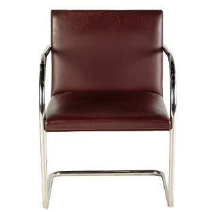 Knoll Contemporary Leather & Chrome Arm Chair