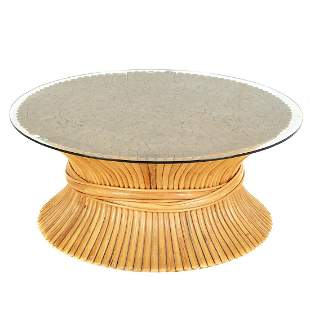 McGuire Contemporary Round Glass Top Coffee Table