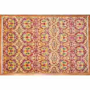 Ikat Style Rug, India, 4.1 x 6