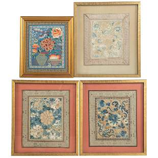 Four Chinese Silk Embroideries