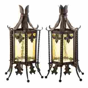 Pair Arts & Crafts Style Metal & Glass Lights