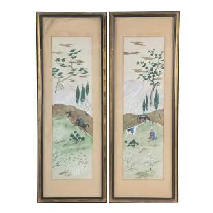 Pair of Persian Watercolor Panels