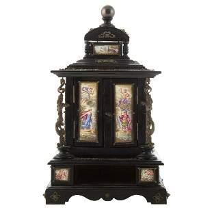 Continental Wood & Enamel Vanity Box