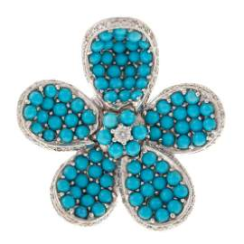 A Whimsical Turquoise & Diamond Flower Ring in 18K