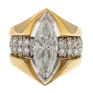 A Kurt Wayne Marquise Diamond Ring in 18K & Plat
