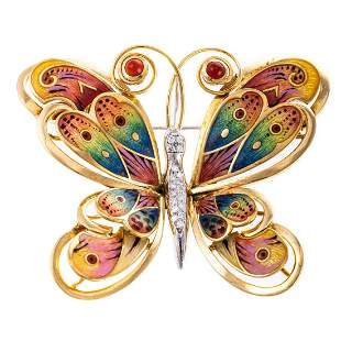 A Large Colorful Enamel Butterfly Pin in 18K