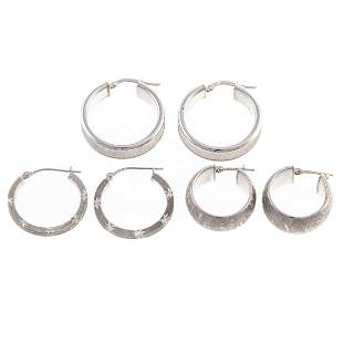 A Trio of Hoop Earrings in 18K & 14K White Gold