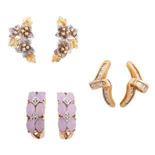A Trio of Earrings in Diamond, Rose Quartz & Gold