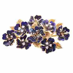 A Blue Enamel & Diamond Flower Brooch in 18K