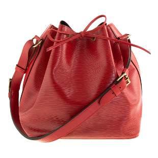 A Louis Vuitton Red Epi Noe PM