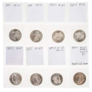 Eight Uncirculated Morgan Dollars