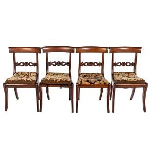 Four American Classical Mahogany Klismos Chairs