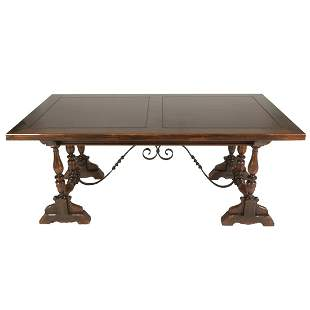Renaissance Style Mixed Wood Draw Leaf Table